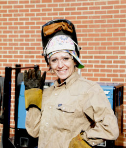 Sonya Ellis in Welding Gear