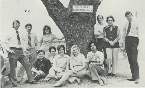 Some of the College's first faculty members are shown in this photo from the yearbook, The Bridge, in 1974. Pictured are: (seated) Ted Cash, Sandra Hardin, Beth Martin, Becky Cook, Madge Wray, (standing) Evan Thompson, Bob Hoover, Becky Kiser, Mike Winburn, Alice Tigner, and Fred McFarland.